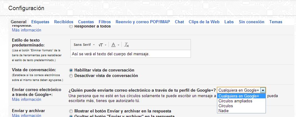Gmail Deshabilitar Envio correo desconocido