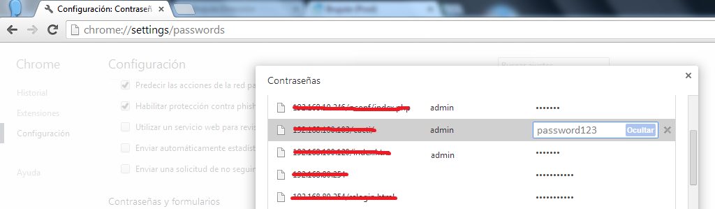 Chrome passwords en claro